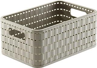 Rotho Country Boîte de Rangement 4L en Rotin, Plastique (PP) sans BPA, CaPPuccino, A6+/4L (23,7 X 15,8 X 10,8 cm)
