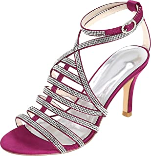 Vimedea Womens Ankle Strap Dress Sexy Heeled Sandals Shiny Wedding Bride Open Toe Satin 9920-11