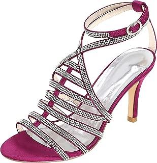 Vimedea Womens Ankle Strap Dress Sexy Heeled Sandals Shiny Wedding Bride Open Toe Satin 9920-11
