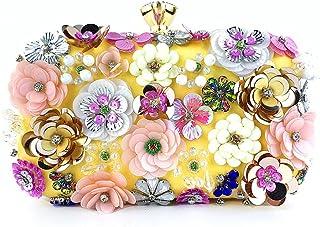 BMBN Bloemen handtas, bloemenavond, diner, handtas, kralen, bloemen, clutch, tas, metalen ketting, crossbody, tas, banket,...