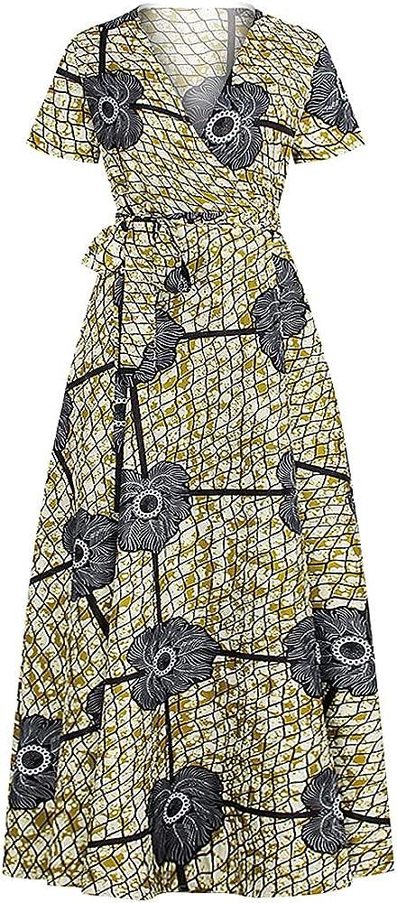TranRay Summer V-Neck Short-Sleeved Award-winning store Ranking TOP2 Dress Loose Pleate Women for