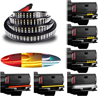 LivTee 60 Inch LED Truck Tailgate Light Bar Strip Super Bright Tail Brake Backup Reverse Turn Signal Running Lights for Pickup Trailer SUV RV VAN Car Towing Vehicle, Red/White/Amber