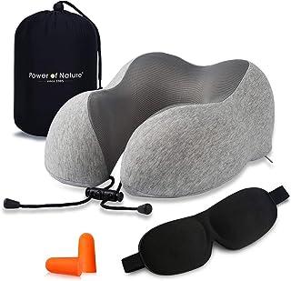 Almohada de Viaje Cervical Viscolástica Ortopédica - Cojin Cuello Viaje de Espuma de Memoria para Avión y Coche, con Máscara de Ojos y Enchufe de Oído