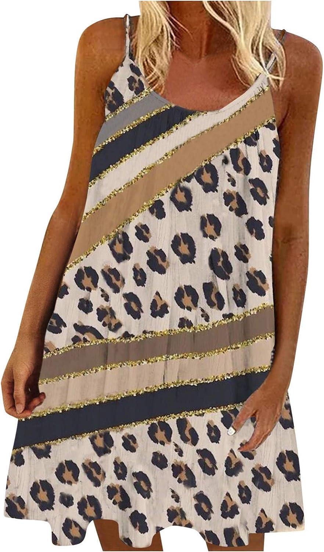 Toeava Women Dresses, Women's Vintage Bohemia Summer Print Color Block Spaghetti Strap Sleeveless A-Line Mini Sundress