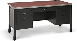 OFM Core Collection Mesa Series 5-Drawer Double Pedestal Teacher's Desk, in Cherry (66360-CHY)