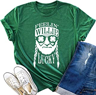 Feelin' Willie Lucky Casual T Shirt Tops Women St. Patrick's Day Irish Short Sleeve Clover Blouse Tees