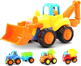 GoStock Friction Powered Cars Push and Go Construction Vehicles Toys Set of 4 Tractor,Bulldozer,Cement Mixer Truck,Dumper Push Back Cartoon Play for 1 2 3 Years Old Boys Toddlers Kids Gift