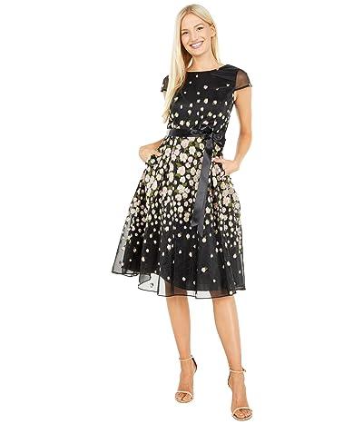 Tahari by ASL Organza Jacquard Cap Sleeve Party Dress