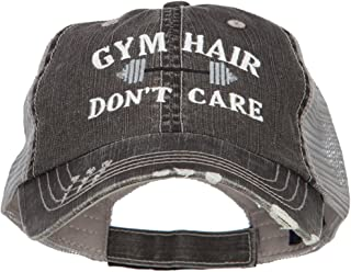 e4Hats.com Gym Hair Don't Care Embroidered Cotton Mesh Cap