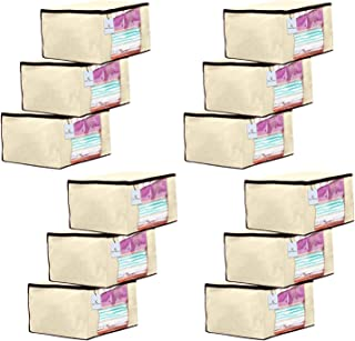 Kuber Industries 12 Piece Non Woven Fabric Saree Cover Set with Transparent Window, Extra Large, Ivory-CTKTC23690