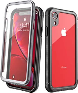 Designed for iPhone XR Case,EONFINE Full-Body Heavy Duty Protection with Built-in Screen Protector Rugged Armor Cover Clear Shockproof Case for iPhone XR Case 6.1 Inch 2018 (Black)