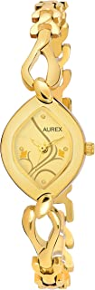 Aurex Analouge Gold Dial 18 K Gold Plated Watch Water Resistant Golden Color Strap Wrist Watches for Womens/Ladies/Girls (AX-LO2455-GLGL)