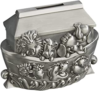 Creative Gifts Noahs Ark Animals Brushed Pewter Coin Bank,4x5