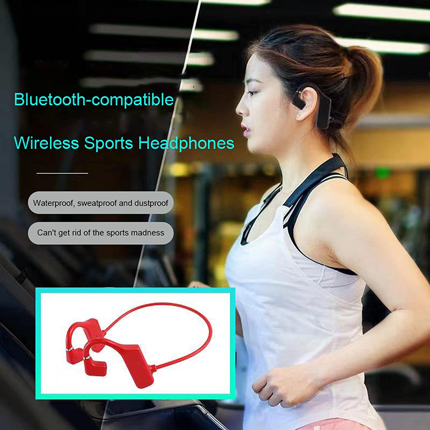 OCUhome Bone Conduction Headphones, Open Ear Headphones, G1 Bluetooth 5.1 Earphones IPX6 Waterproof 3D Surround Sound ABS Practical Wireless Bone Conduction Headsets for Sports Red