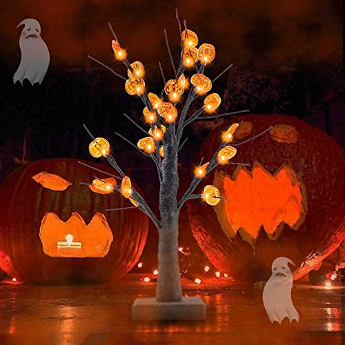 2021 Twinkle Star 24 LED Lighted Halloween Tree, Battery Operated Birch Tree with discount 24 DIY Pumpkins , Indoor Home Table Desktop Best Halloween online Decorations Gift Package online sale