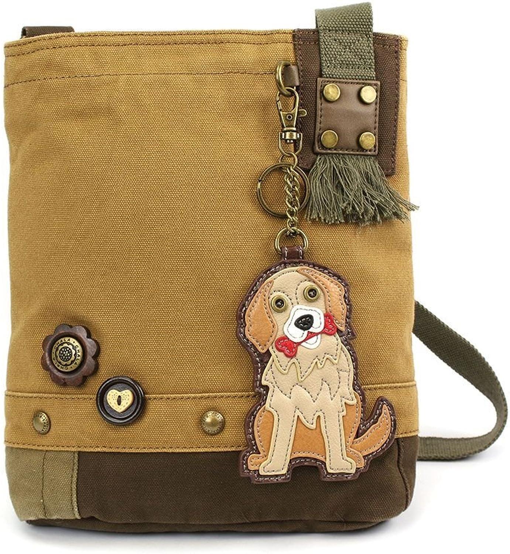 Chala Womens' Canvas Patch Crossbody Handbag golden Retriever   Brown