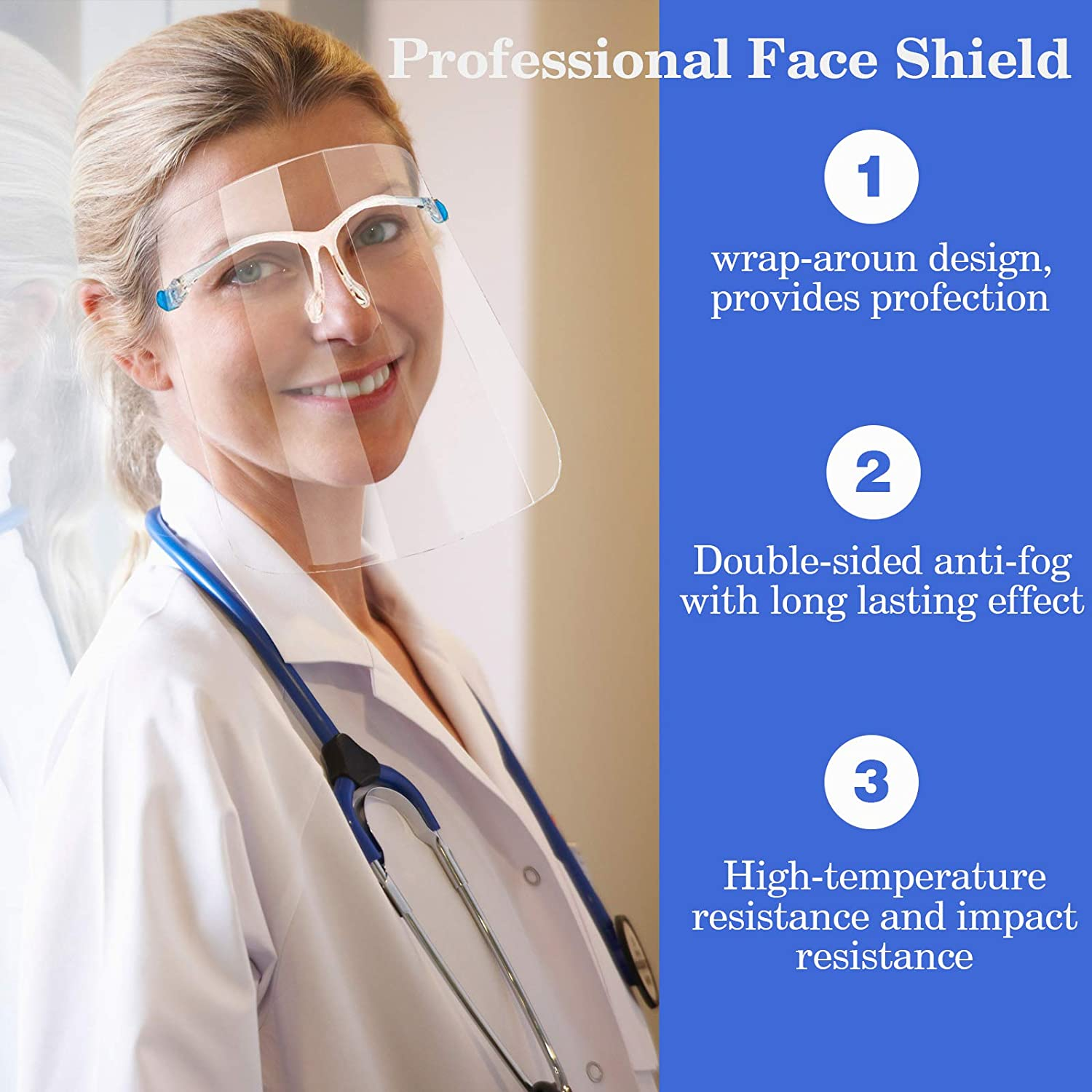 Women Safety Glasses Face Shield-Reusable Full Face Clear Visor Windproof Dust proof Anti-fog Shield Protect Eyes for Man 10pcs Protective Eyeglass/Shields