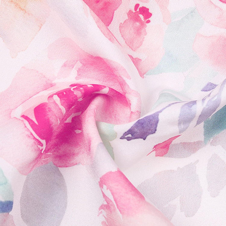 Boho Floral Tunic Shirts for Women V Neck Lace Lantern Long Sleeve Button Down Drawstring Blouse Tops