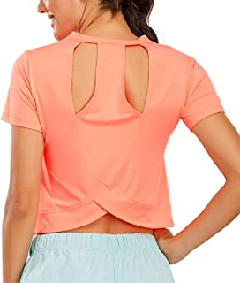 DREAM SLIM Open Back Yoga Shirts Sexy Cute Short Workout Racerback Crop Tops for Women