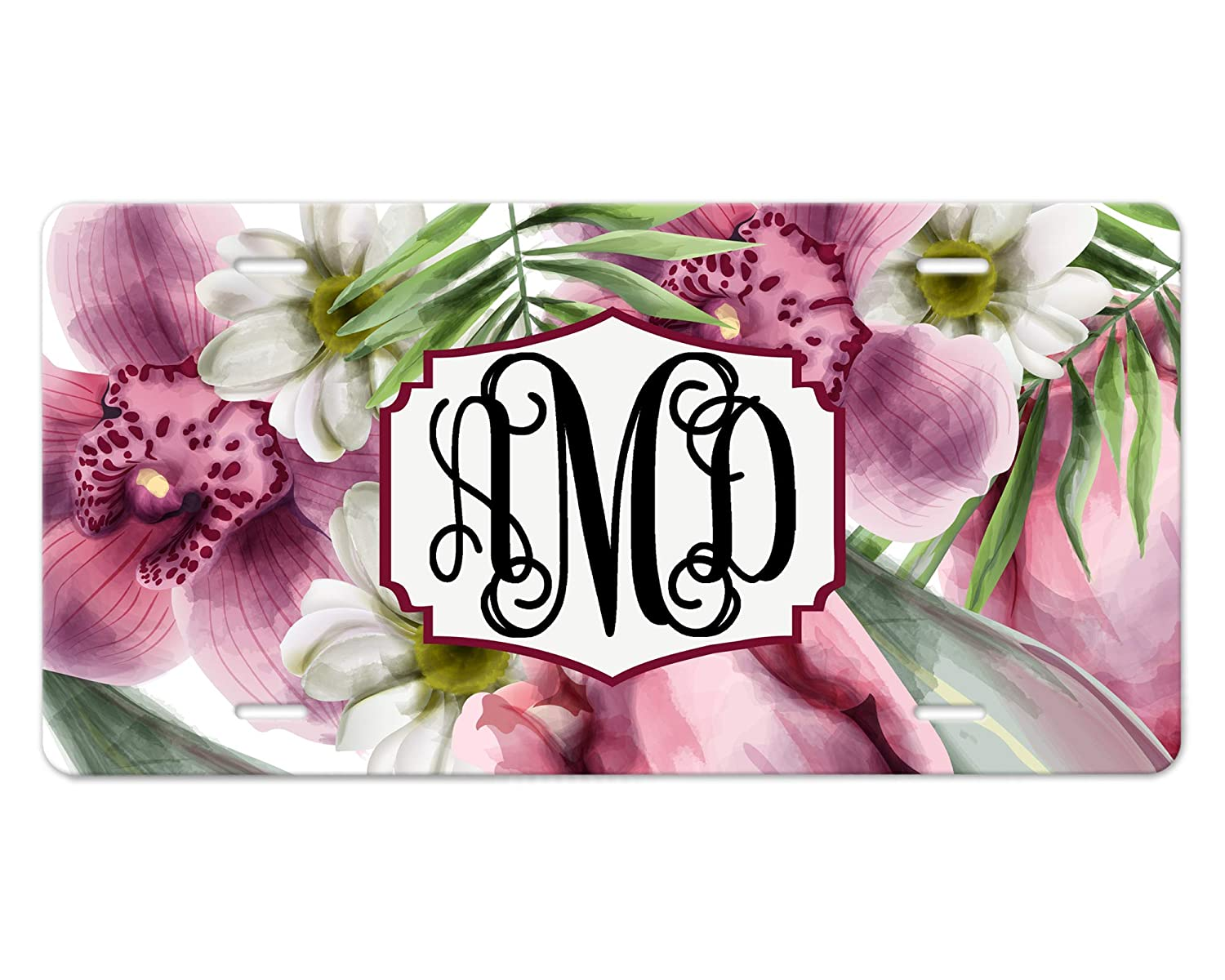 Personalized Front Ranking TOP16 Cheap bargain License Plate Design Watercolor Purple Floral