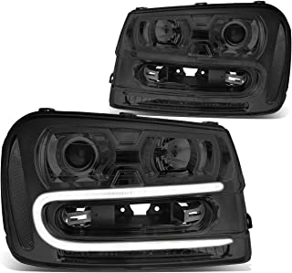 Pair Smoked Housing Clear Corner LED DRL Projector Headlight/Lamps for 02-09 Chevy Trailblazer