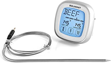 Digital Cooking Meat Thermometer with Touch Screen LCD Display and 5 Selectable Preset Temperature Programs for Cooking, BBQ, Baking Barbecue and Baking, Instant Read Meat Thermometer