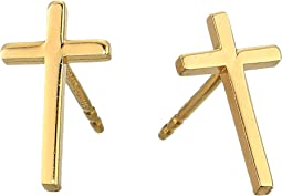Cross Post Earrings - Precious Metal