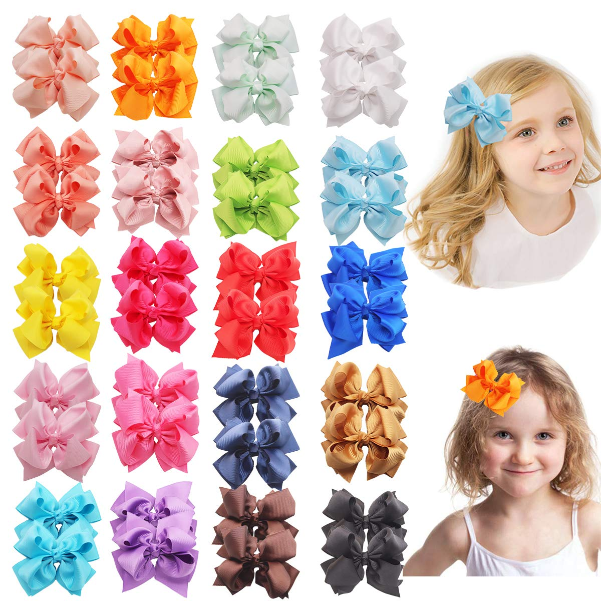 40pcs Weekly update 20 Colors Hair Bows for Solid 3Inch All stores are sold Girls Color Grosgrain