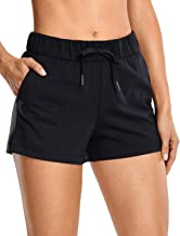 CRZ YOGA Women's Stretch Lounge Travel Shorts Elastic Waist Comfy Workout Shorts with Pockets -2.5 Inches