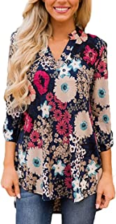 Women Casual Split V Neck Loose Cuffed 3 4 Sleeve Floral Print Tunic Top Blouses (9 Floral Pattern)