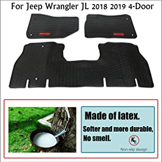 Unique Black Red TPE All-Weather Protector Slush Mat Front and Rear Row Heavy Duty Rubber Liner Set Vehicle Carpet Custom Floor Mats, for Jeep Wrangler JL 2018 2019 4-Door Floor Liners,Odorless