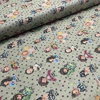 Kt KILOtela Tela de Patchwork - Estampación Digital - 100% algodón - Retal de 100 cm Largo x 140 cm Ancho   Mujeres pioneras - Multicolor, a Topos ─ 0,50 Metro