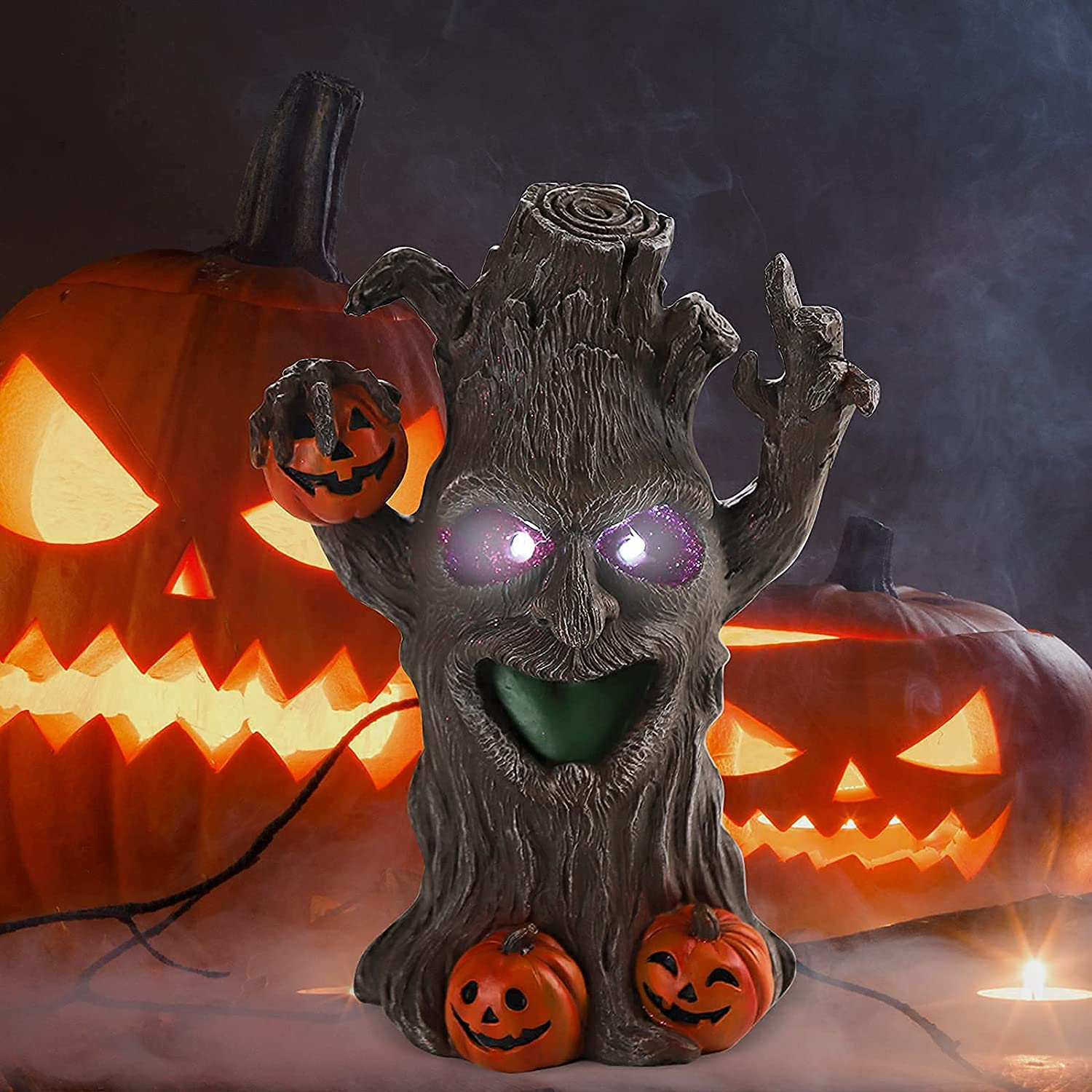 Halloween Ghost Tree Decoration,Christmas Halloween Ornament with LED Light,Wooden Pumpkin and Ghosts Tree Decor,Realistic Ornaments for Table,Office,Home and Party Supplies