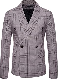 Mens Classic Blazer Party Wedding Jacket Suits Elegant Slim Fit Autumn Winter Checked Double-Breasted Vintage Retro Smart ...