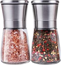 BOOTWO Salt and Pepper Grinder Set,Premium Stainless Steel Salt and Pepper Mill with Glass Body and Adjustable Coarseness,...