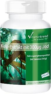 Kelp 300mcg – Yodo de algas Kelp – 360 comprimidos para ¡1 AÑO! – Para la tiroides – Suplemento de yodo natural