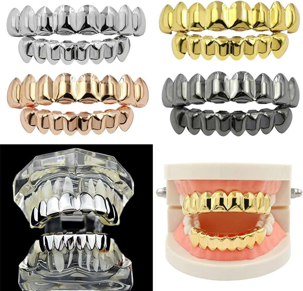 Harilla Hip Hop Teeth Grills Top and Bottom Hip Hop Rapper Accessories - Gold - 2