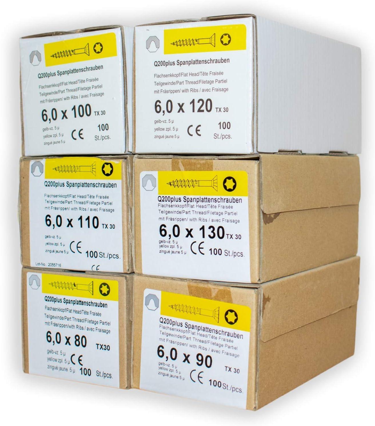 200 St/ück Spanplattenschrauben 6,0 x 100 mm TX25 Teilgewinde Holzschrauben Universal Schrauben Q200 Torx verzinkt gelb