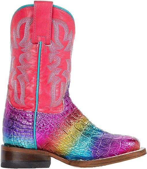 Rainbow Faux Caiman Vamp/Pink Shaft