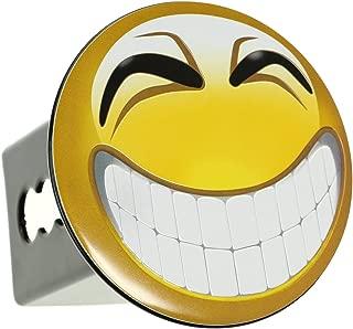 Emoji Smile Embossed Metal Emblem on Metal Trailer Hitch Cover (Fits 2