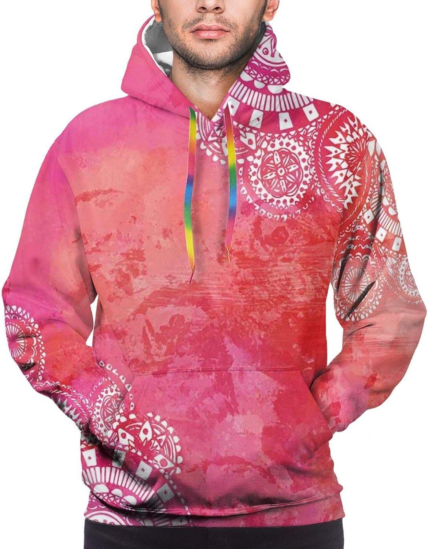 Men's Hoodies Sweatshirts,Pink Tone Monochrome Love Pattern with Simple Drawn Little Hearts