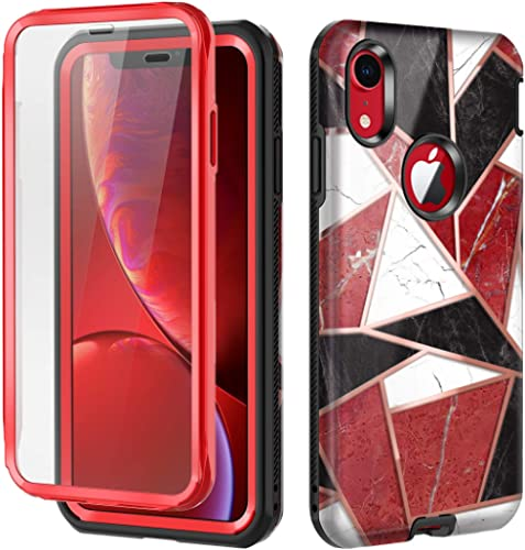 Hekodonk for iPhone XR Case Built in Screen Protector Heavy Duty High Impact Hard PC TPU Bumper Full Body Protective ...