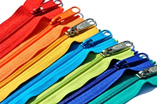 YKK Zippers for Various Uses - Mixed #3 Nylon Coil, 4.5 Handbag Long Pull Closed Bottom Made in USA - Pack in Vinyl Pouch...