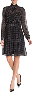 Anne Klein womens LONG SLEEVE TIE NECK FIT AND FLARE DRESS Dress