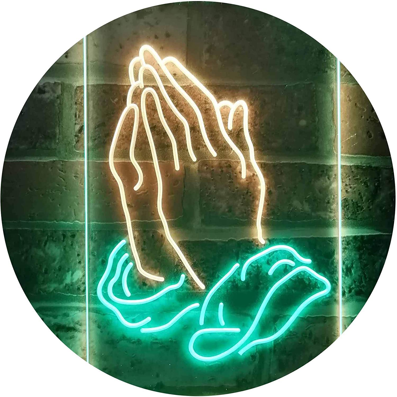 ADVPRO Store Praying Hands Home Display Dual LED Sign Ranking TOP8 Green Neon Color