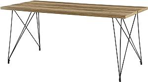 [en.CASA] Table à Manger Table de Salle à Manger Table de Cuisine Table de Bureau pour 6 Personnes Acier revêtu par Poudre MDF furniert 178cm x 78cm x 77cm Effet Bois