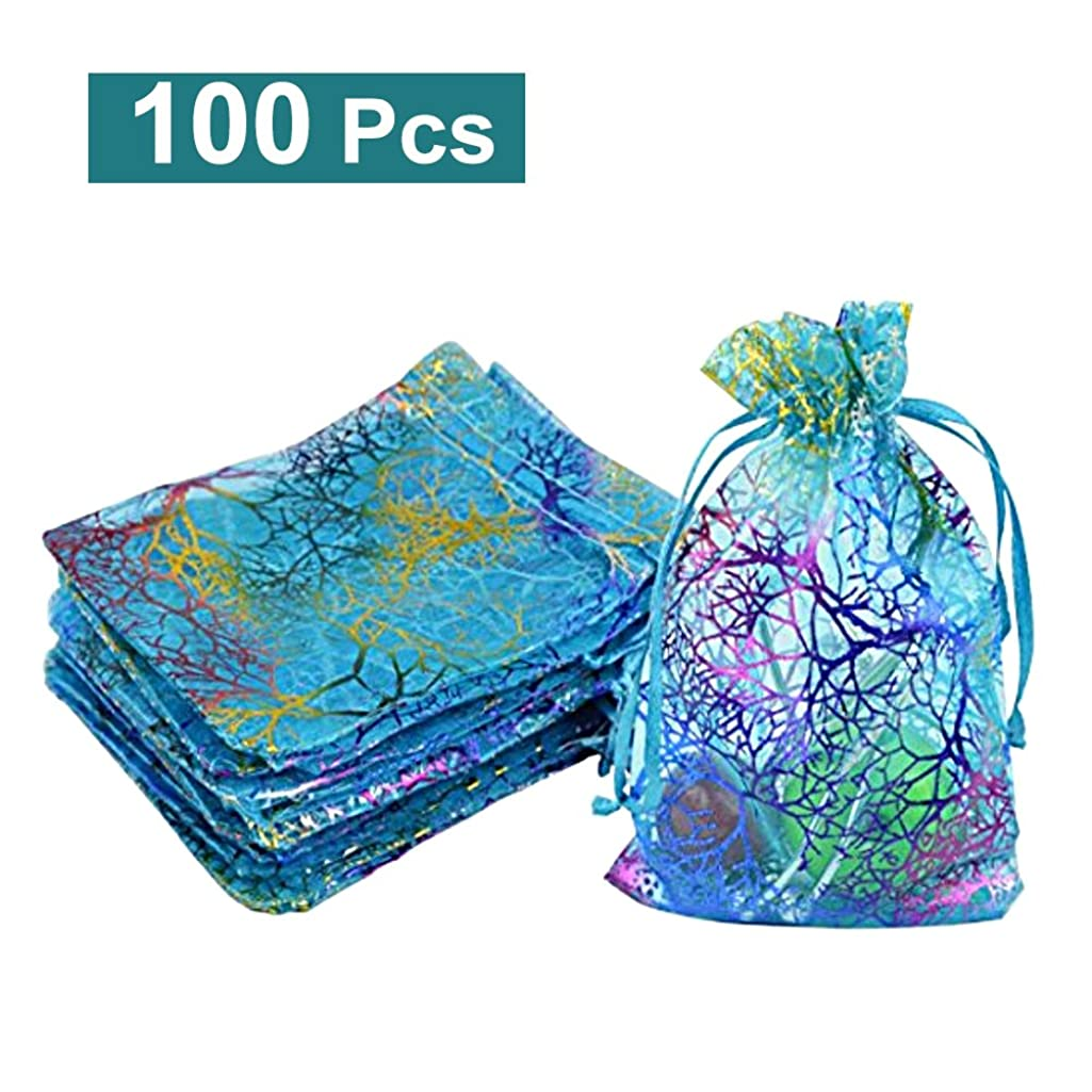 Organza Drawstring Gift Bags WINOMO Jewelry Pouches Favor Bags Blue Pack of 100
