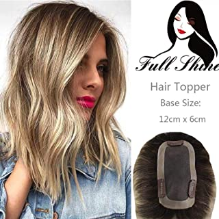Full Shine Topper Hair Piece 100% Human Hair Extensions Short 8 Inch Balayage Color #3 Darker Brown Fading to #8 Light Brown and #22 Medium Blonde Crown Topper Hair Extensions 12x6CM 20g