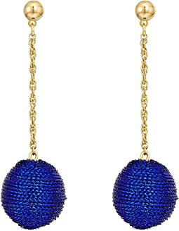 Blue Thread Wrapped Ball On Gold Chain Drop Post Earrings
