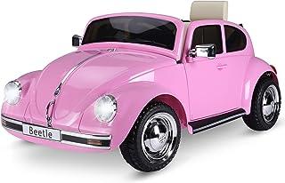 HOMCOM Kinderauto von Volkswagen Beetle Kinderfahrzeug Elektroauto mit MP3 Licht Musik Kunststoff Metall 108,5 x 63 x 51,5 cm